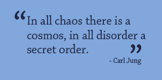 """In all chaos there is a cosmos, in all disorder a secret order."" - Carl Jung"